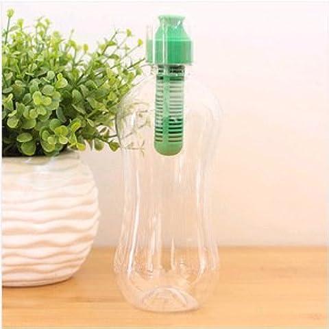 MaMaison007 550ML PE multifuncional al aire libre carbono filtro botella de agua hidratación filtrado beber botella-