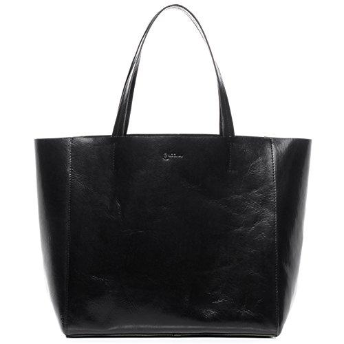 BACCINI Handtasche mit Langen Henkeln echt Leder Frida XL groß Henkeltasche Schultertasche Damen schwarz