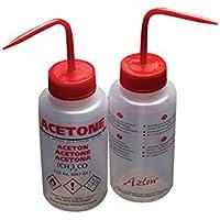 AZLON Plástico, Botella de Lavado, Boquilla Ancha, Acetona, LDPE, Ventilación, 500 ml (Pack de 5)