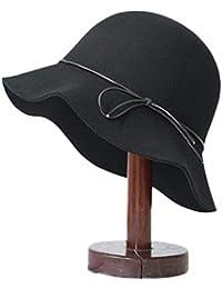 Cappello Femminile di Autunno e l inverno Feltro Pescatore di Colore Solido  Lana Calda Lana Elegante inchino Selvaggio… bfd417743c8e