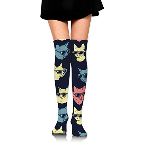 XIUZHIZH Women Lady Girl Cool Cats Knee High Fashion Comfortable Boots Socks Cotton Athletic Over The Knee Tube Socks Thigh High Stockings for Great Gifts