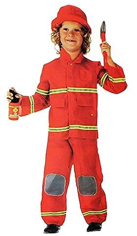 3 tlg. Kostüm Feuerwehr Mann - 3 bis 6 Jahre - Gr. 104 - 116 - Karneval / Feuerwehrmann / Rettung - Hose + Jacke + Mütze - für Kinder Kind Kinderkostüm Fasching + Halloween - Mädchen Jungen - Rettungsdienst