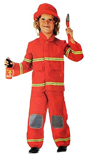 3 tlg. Kostüm Feuerwehr Mann - 3 bis 6 Jahre - Gr. 104 - 116 - Karneval / Feuerwehrmann / Rettung - Hose + Jacke + Mütze - für Kinder Kind Kinderkostüm Fasching + Halloween - Mädchen Jungen - Rettungsdienst (Feuerwehr Frau Kostüm Kostüm)