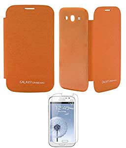 TBZ Premium Flip Cover Case -Orange for Samsung Galaxy Grand Neo with Screen Guard