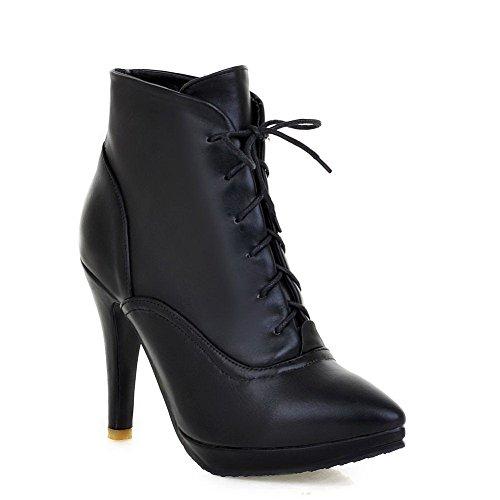 AgooLar Damen Knöchel Hohe Gemischte Farbe Stiletto Spitz Zehe Schnüren Stiefel, Rot, 41