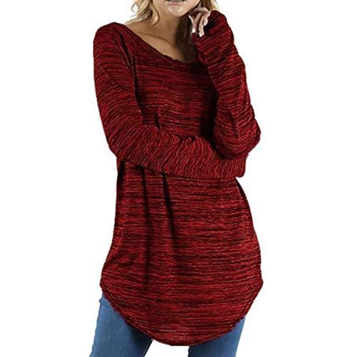 Preisvergleich Produktbild Damen Bluse, Geili Frauen Damen Tägliche Freizeit Große Größe Einfarbig Rundhals Langarm Bluse Pullover Tops T Shirt Tee Basictop Oberteile Hemd