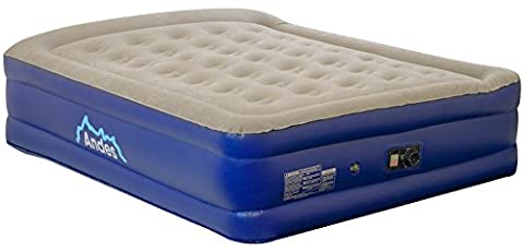 Andes Premium Queen Size Flocked Double Air Bed with Built-in Electric Pump and Pillow
