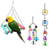 Roblue 3 Pezzi Gioco di pappagalli in Legno Campana Specchio Grande, Nido con Posa per Gabbie.