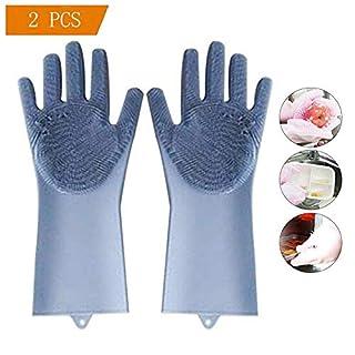 2PCS Magische Silikon-Handschuhe, OYD Magic Food-Grade-Silikon-Reinigungsbürste Scrubber, hitzebeständige Wasserdichte Wiederverwendbare Geschirrspülbürste für die Reinigung (Blau)