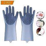 OYD 2PCS Magische Silikon-Handschuhe, OYD Magic Food-Grade-Silikon-Reinigungsbürste Scrubber, hitzebeständige Wasserdichte Wiederverwendbare Geschirrspülbürste für die Reinigung (Blau)