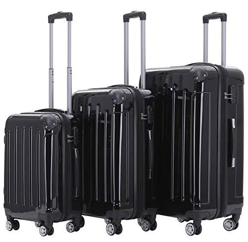 BEIBYE- 3er Kofferset Hartschalen-Koffer Reisekoffer Trolley Rollkoffer Set Reisekofferset (Schwarz)