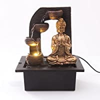Creative Touch Fountain Edition Buda de Oro con 4 Vasos de Agua Fuente de Agua Interior