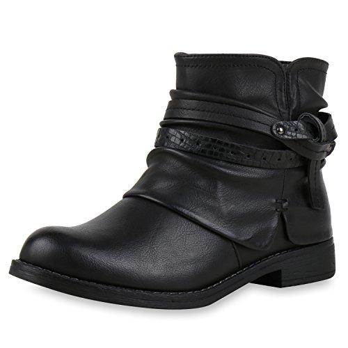 Damen Biker Boots Stiefeletten Prints Profil Sohle Block Absatz Schwarz Band