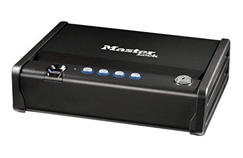 MASTER LOCK Biometrisch Kleiner Tresor, Kompakter Safe [Schlüssel + Digitale Kombination + Fingerabdruck] Schnellzugangsicherheit