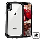 Elewelt iPhone X Hülle Stoßfest,Outdoor Dual Layer Robuste Schutzhülle[Silikon Bumper],Durchsichtige Handyhülle für iPhone X 10(5.8 Zoll)-Schwarz