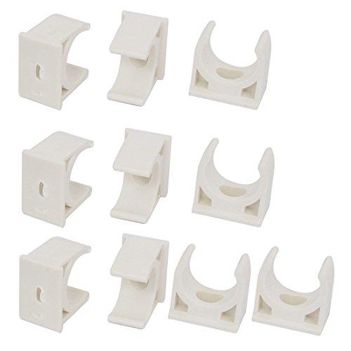 Preisvergleich Produktbild Sourcingmap® 20mm Dia PVC Wasser Tube Rohr Schlauchschellen Snap In Typ Clip weiß 100