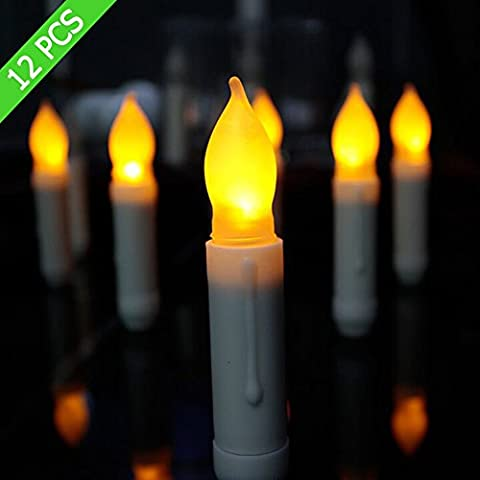 candora Set von 12Flammenlose LED Spitzkerzen, elfenbein Wachs getaucht Kerzen, warm weiß gelb flackerndes Licht Leuchtmittel batteriebetrieben LED Stumpenkerze für Home Decor Geburtstag, Kirchen, Partys und Weihnachten, flackerndes Licht Leuchtmittel
