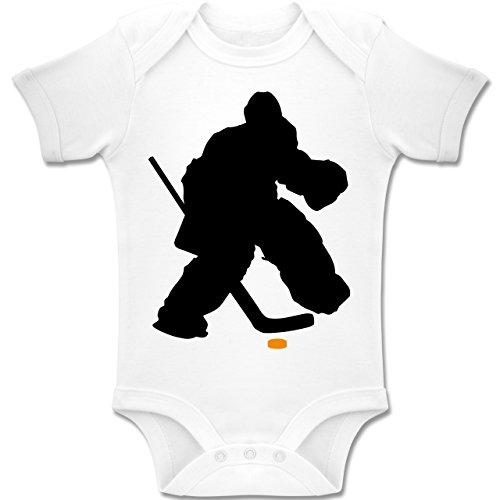 Sport Baby - Eishockeytorwart Towart Eishockey - 1-3 Monate - Weiß - BZ10 - Baby Body Kurzarm Jungen Mädchen
