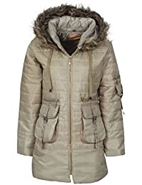 Womens Ladies Quilted Puffer Puffa Jacket Coat Parka Padded Hood Winter Warm
