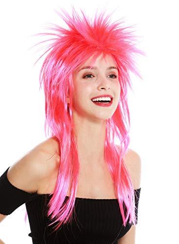WIG ME UP ® - DH1069-PC13TPC5 Peluca Carnaval Punk Melena roquero Salvaje los 80 Pelo Wave erizado Largo Colores Rojo y Rosa Mix