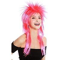 Perücke Fasching Karneval Wild 80er Glam Neon Bunt Gestuft Punk Wave Disco RJ041