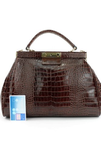 Made Italy, Borsa a mano donna Marrone (blu scuro)