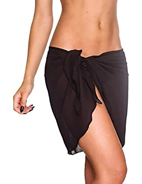 Pareos Playa Mujer Elegantes Verano Falda Tul Moda Casual Color Sólido Gasa Faldas Cortas Bikini Cover Up Ropa...