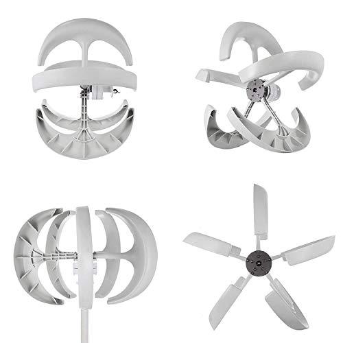 Buoqua windgenerator 400 watt Wind Generator 12v Wind Turbine Generator 5 Blätter Weiße Laterne Vertikal Windgenerator mit Controller -