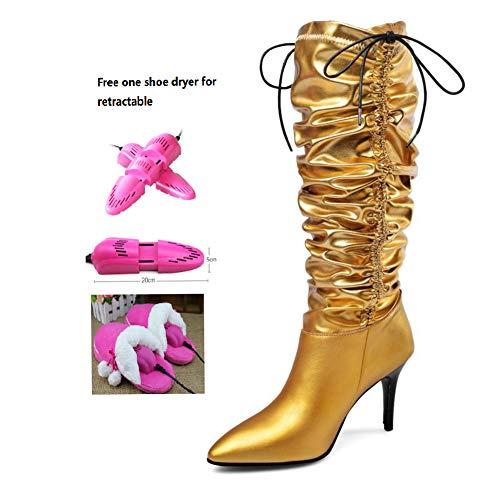 BWCX Damen Hohe Stiefel, Rindsleder und Mikrofaser, inkl. ausziehbarem Schuhtrockner, Gold, 37