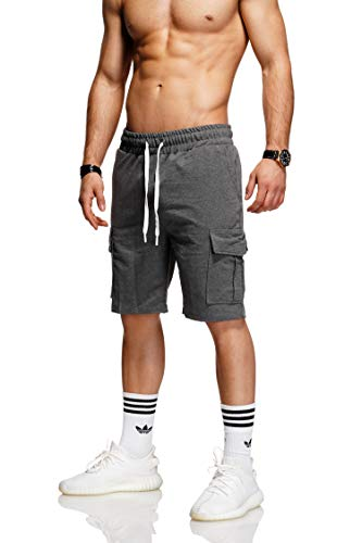 behype. Herren Sweat-Shorts Kurze Hose Sport-Hose Jogging-Hose Trainings-Hose Freizeit Side-Stripe 60-8110 (S, Dunkelgrau (1802))