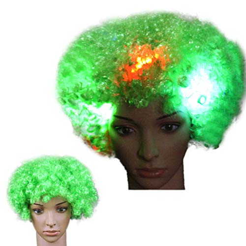 Luckhome Bob Wigs with Baby Hair Pre Plucked for All Skins Party Disco LED Flash Clown Haar Fußball Fan-Erwachsener Afro Maskerade Perücke Explosion Kopf Fake Glow Fan Nacht Marktstand (H)