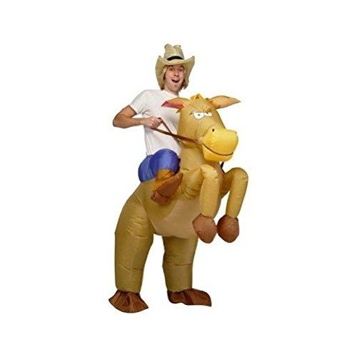 DeliaWinterfel Aufblasbares Kostüm Pferd und Cowboy Fasching Karneval - Adult Size - Frau Pferd Kostüm
