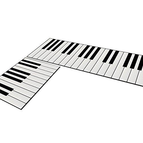 OUNONA 2 Stücke Küche Teppich Läufer für Küche Flur Klavier Tasten 40x60 cm und 40x120 cm (Taste Teppich)