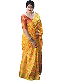 Applecreation Women'S Patola Silk Saree With Blouse Piece (Yellow_Free Size )