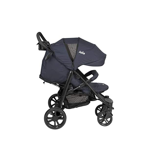 Joie Litetrax 4 Pushchair Navy Blazer  Bumper bar, raincover, shopping basket and parent tray with cupholders UPF 50+ sun canopy and oversized expandable hood SoftTouch 5-point safety harness adjusts to 3 heights 4-position recline and 2-position leg rest One-hand instant fold with automatic lock 6