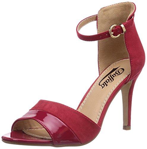 Buffalo Shoes 312339 SY SUEDE PATENT PU, Damen Knöchelriemchen Sandalen, Rot (RED217), 40 EU
