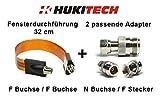 HUKITECH SET: Flache Fensterdurchführung (32 cm) + 2 passende HUKITECH Adapter - SET passend für alle HUKITECH Repeater