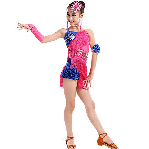 KINLOU Fashion Latin Dance Kostüm - Kinder Kinder Slim Pailletten Fransen Blumen ärmellos Competition Performance Dance Outfits Lyrical Dance Kostüme für Mädchen, Rose Rot/160 (Lyrical Dance Kostüm Kinder)