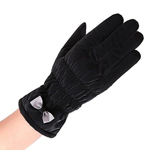Handschuhe Damen Longra wasserdichte winddichte Handschuhe Winter Outdoor Sport Ski Warm Handschuhe (Black)