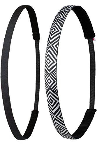 Ivybands® | il-Fascia per capelli antiscivolo, 2confezione da | Tribal S Black print Pack | Nero Superthin, Nero Bianco Stile Tribale Geometrico | taglia unica | IVY003ivy831