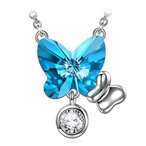 ANGEL NINA Lealtad Mariposa Collar Colgante de Plata de ley 925 con Cristal Azul de Swarovski Joyería de Mujer Regalo Presente Cumpleaños para Ella Niña Dama Novia Esposa