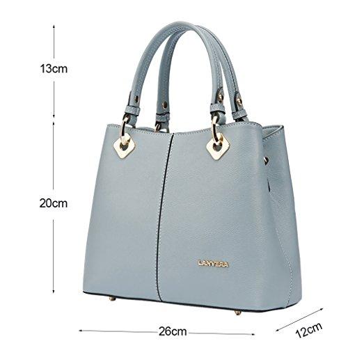 Mena UK Ladies Designer primo strato di pelle Stile Borsa grande borsa portafoglio borsa da spalla ( Colore : Blue Gray , dimensioni : 26cm*20cm*12cm ) Blue Gray
