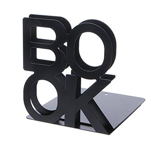 Exing Book Alphabet en Forme Serre-Livres en métal Porte-Livre Supports de Bureau pour Livres (Noir)