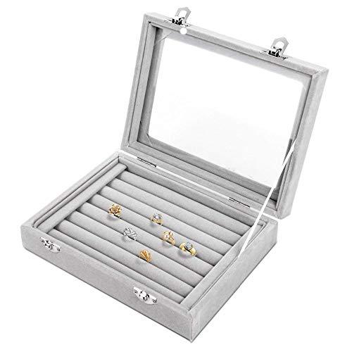 Ybqy Schmuck Aufbewahrung 7 Slots Samt Vitrine Box Ohrring Organizer Schmuckablage Manschettenknopf Aufbewahrungsvitrine mit Klarglasdeckel Grau