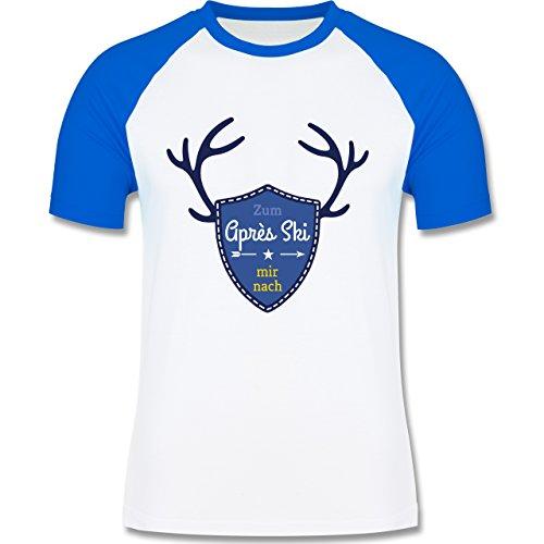 Après Ski - Mir nach Wappen mit Hirsch Geweih - zweifarbiges Baseballshirt für Männer Weiß/Royalblau