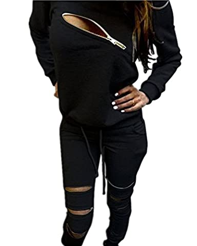 Minetom Women's 2PCS Autumn Casual Tracksuit Front Zip Long Sleeve