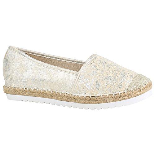 Damen Espadrilles Bast Slipper Glitzer Sommer Schuhe 155370 Gold Brito 38 Flandell