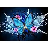 Xshuai Diamant Painting DIY 5D Voller Diamant Blau Schmetterling Kreuzstich Bilder Kunst Handwerk Dekoration für Wohnzimmer Schlafzimmer 30x40cm