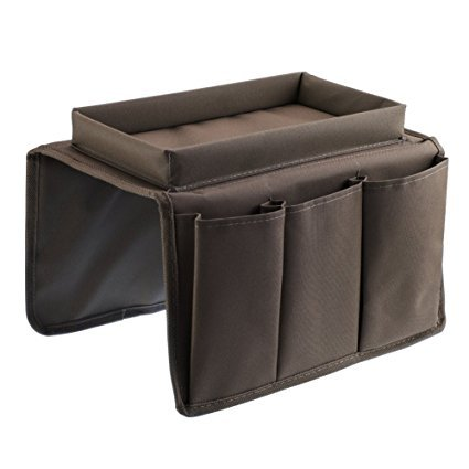 YunQi sofá TV mando a distancia soporte organizador Caddy para reposabrazos con copa soporte bandeja–encaja sobre sillas, sofás sillones con amplia brazo bolsillos Café café