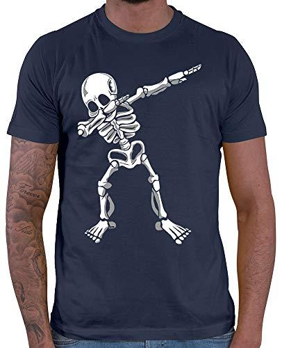 HARIZ  Herren T-Shirt Dab Skelett Dab Dabbing Tanzen Halloween Inkl. Geschenk Karte Navy Blau XL